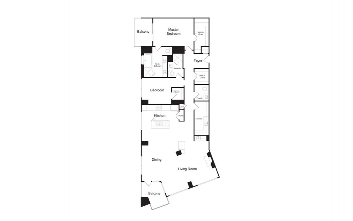 PH1 - 2 bedroom floorplan layout with 2.5 baths and 2177 square feet. (2D)