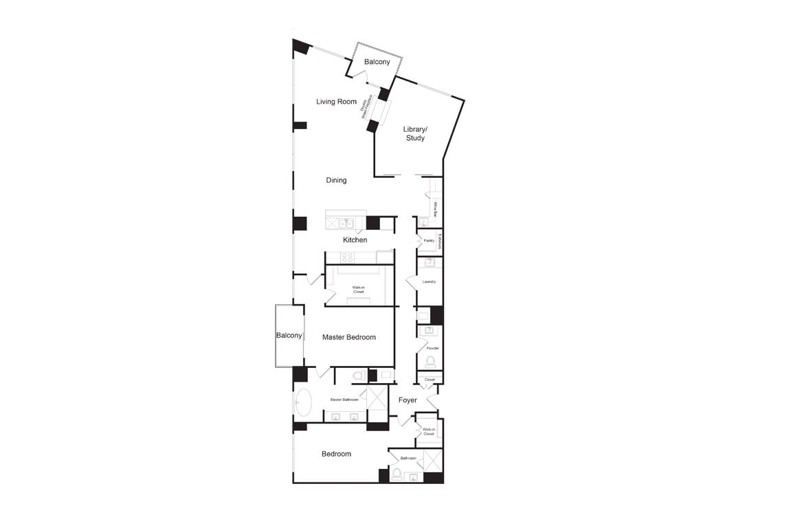 PH2 - 2 bedroom floorplan layout with 2.5 baths and 2463 square feet. (2D)