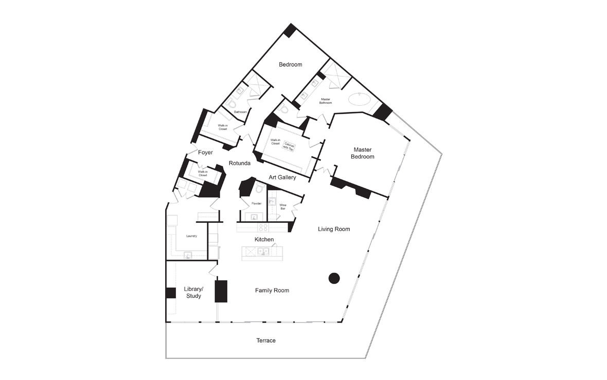 PH3 - 2 bedroom floorplan layout with 2.5 baths and 3178 square feet. (2D)