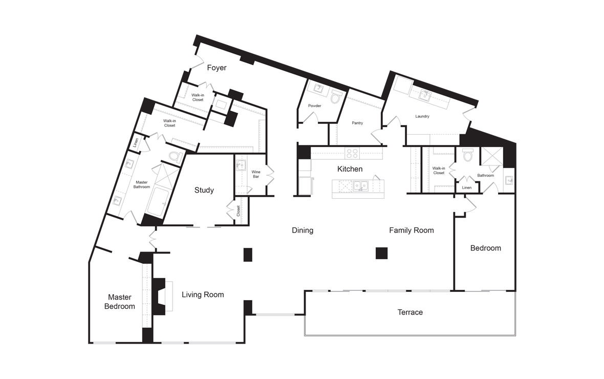 PH4 - 2 bedroom floorplan layout with 2.5 baths and 3450 square feet. (2D)