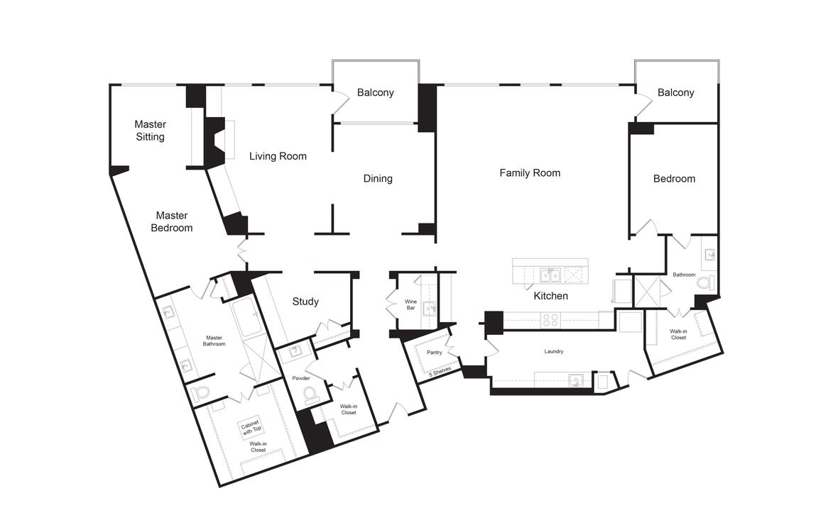 PH5 - 2 bedroom floorplan layout with 2.5 baths and 3419 square feet. (2D)