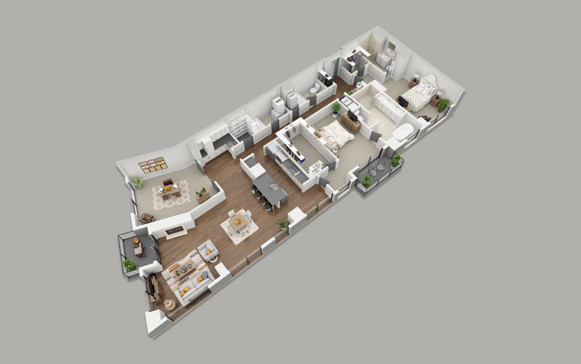 PH2 - 2 bedroom floorplan layout with 2.5 baths and 2463 square feet. (3D)