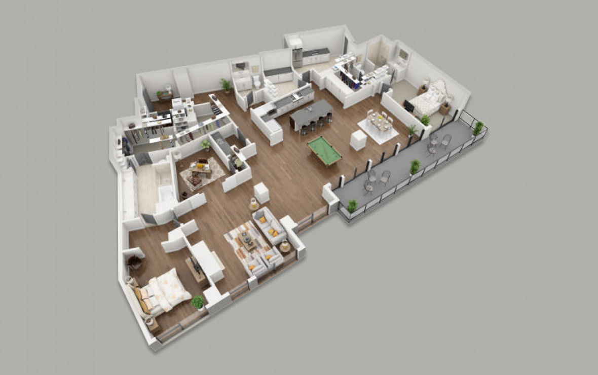 PH4 - 2 bedroom floorplan layout with 2.5 baths and 3450 square feet. (3D)