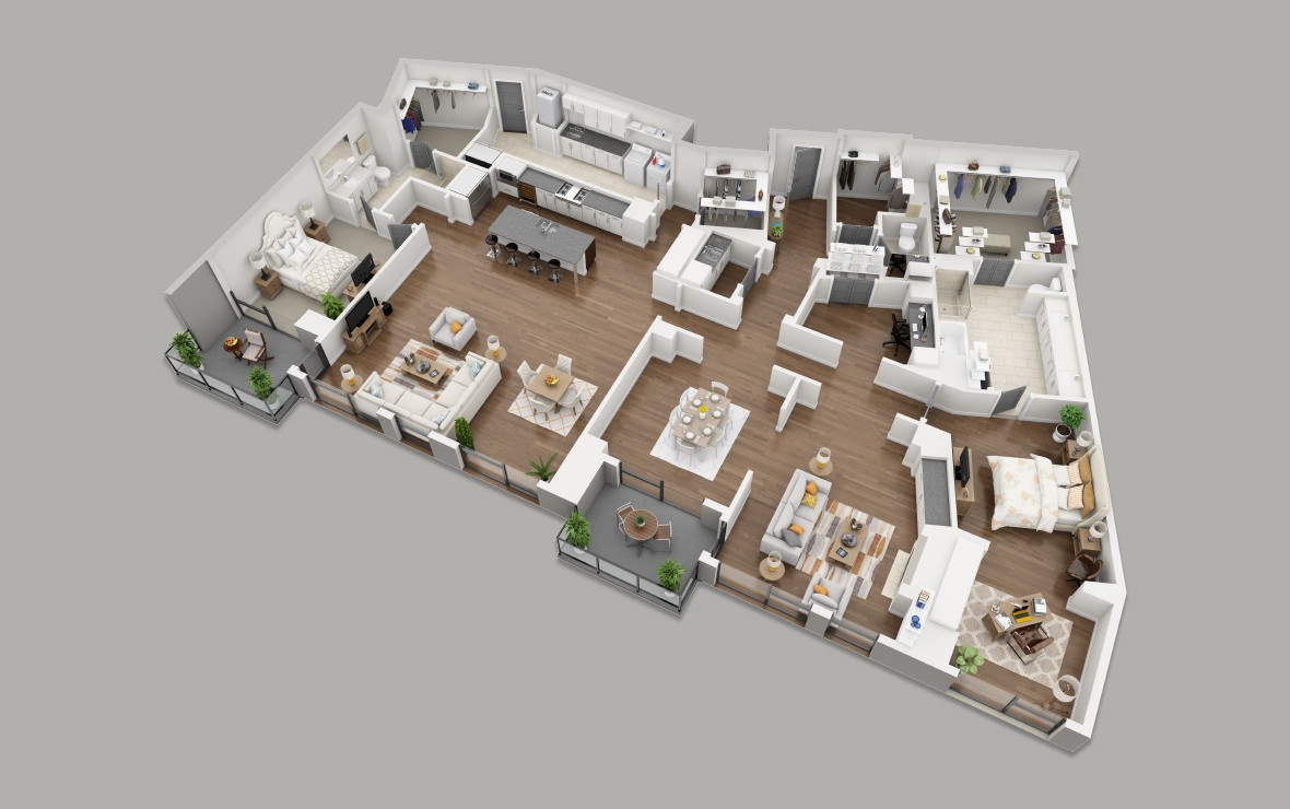PH5 - 2 bedroom floorplan layout with 2.5 baths and 3419 square feet. (3D)