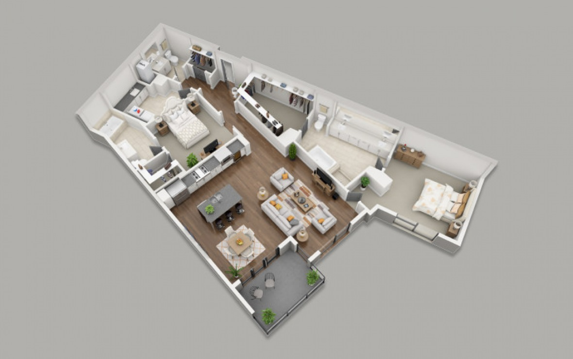 C6A - 2 bedroom floorplan layout with 2.5 baths and 1718 square feet. (3D)